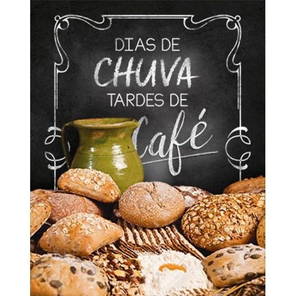 PLACA DECORATIVA 19X24 CAFE DIAS DE CHUVA TARDES DE CAFE