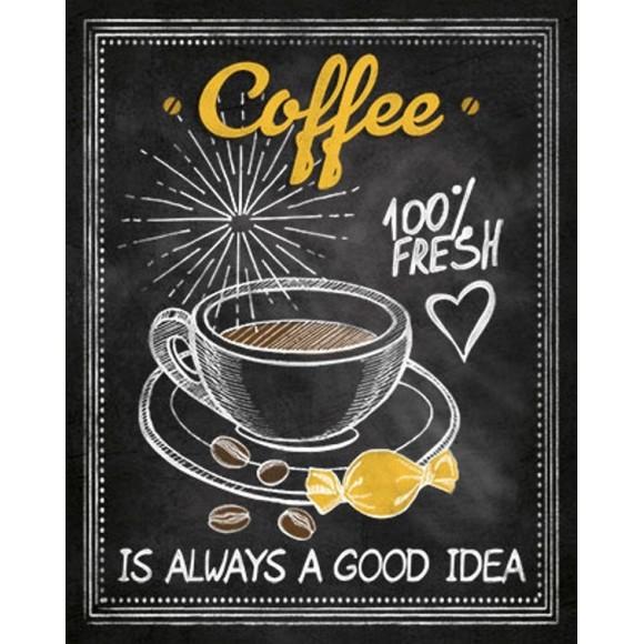 PLACA DECORATIVA 19X24 CAFE COFFEE FRESH