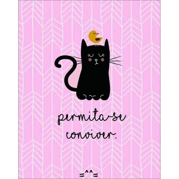 PLACA DECORATIVA 19X24 CAT PERMITA-SE CONVIVER