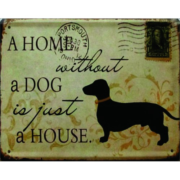 PLACA DECORATIVA 19X24 CACHORRO DOG HOME