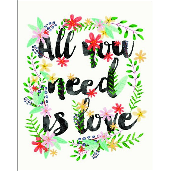PLACA DECORATIVA 19X24 ALL YOU NEED IS LOVE