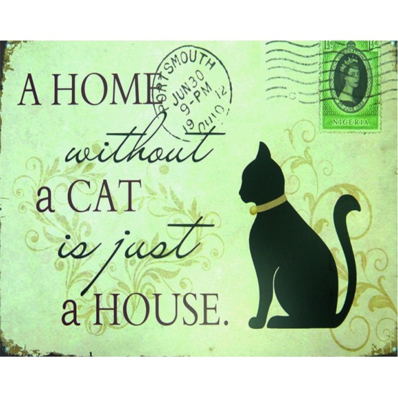 PLACA DECORATIVA 19X24 CAT HOME