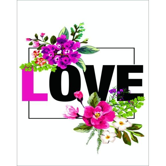 PLACA DECORATIVA 19X24 LOVE FLORAL