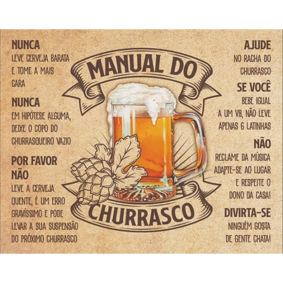 PLACA DECORATIVA 19X24 MANUAL DO CHURRASCO