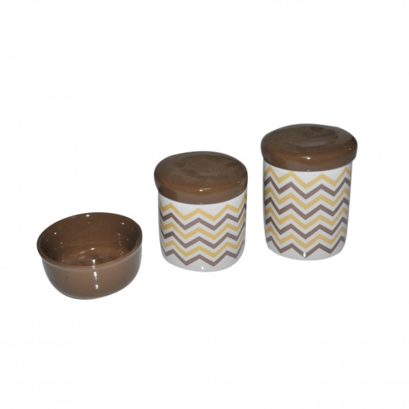 KIT HIGIENE TRIO DE PORCELANA CHEVRON MARROM E BEGE